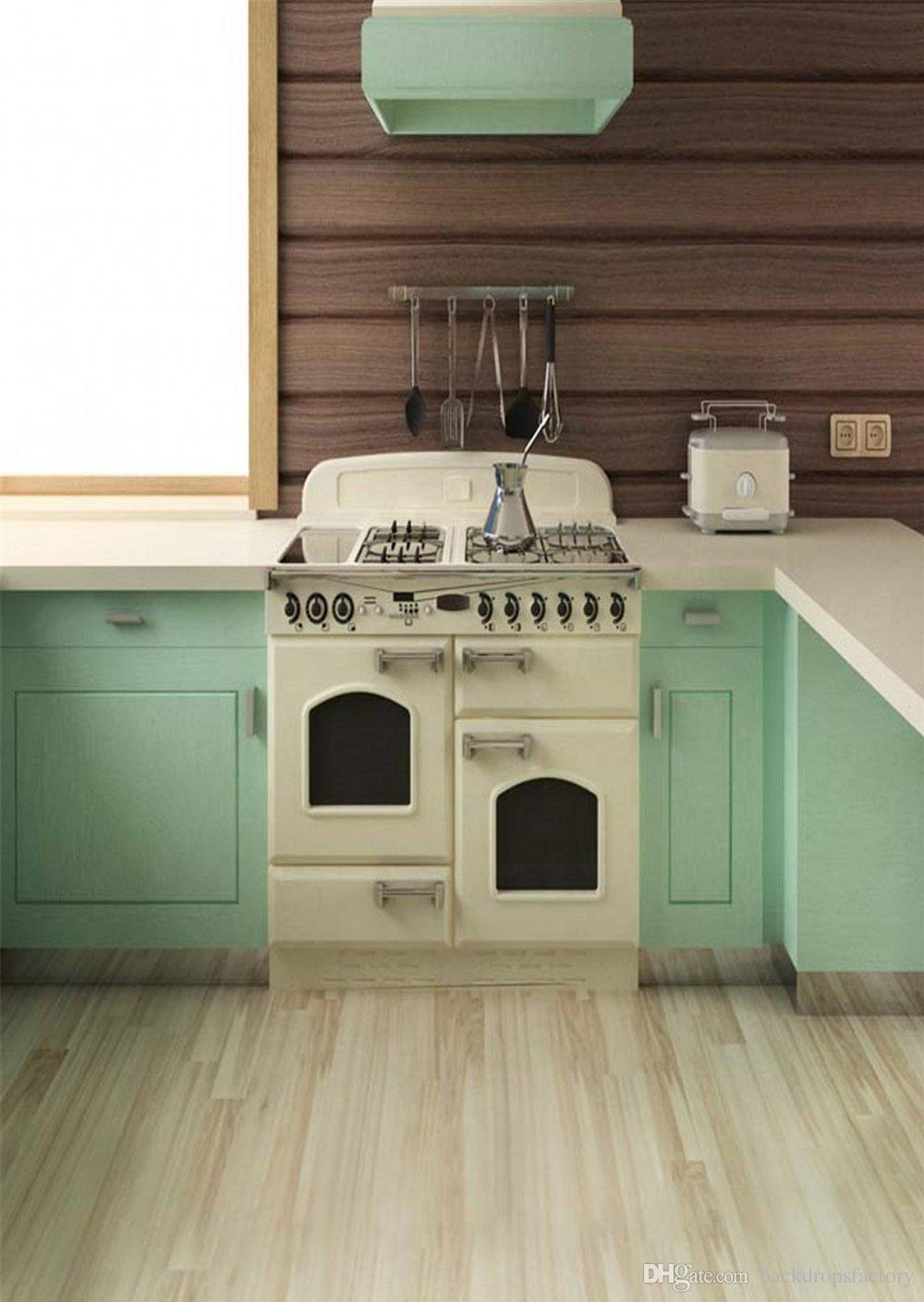 Indoor Kitchen Photography Backdrops Wood Floor Cooking Room Mint Green  Cabinet Baby Shower Backdrop Children Photo Studio Booth Background Kitchen  ...