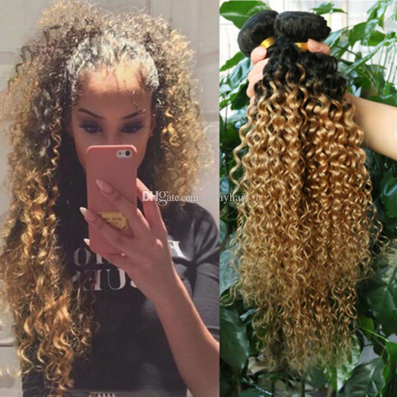 Brazilian Kinky Curly Ombre Hair Extensions Two Tone 1b 27 Honey