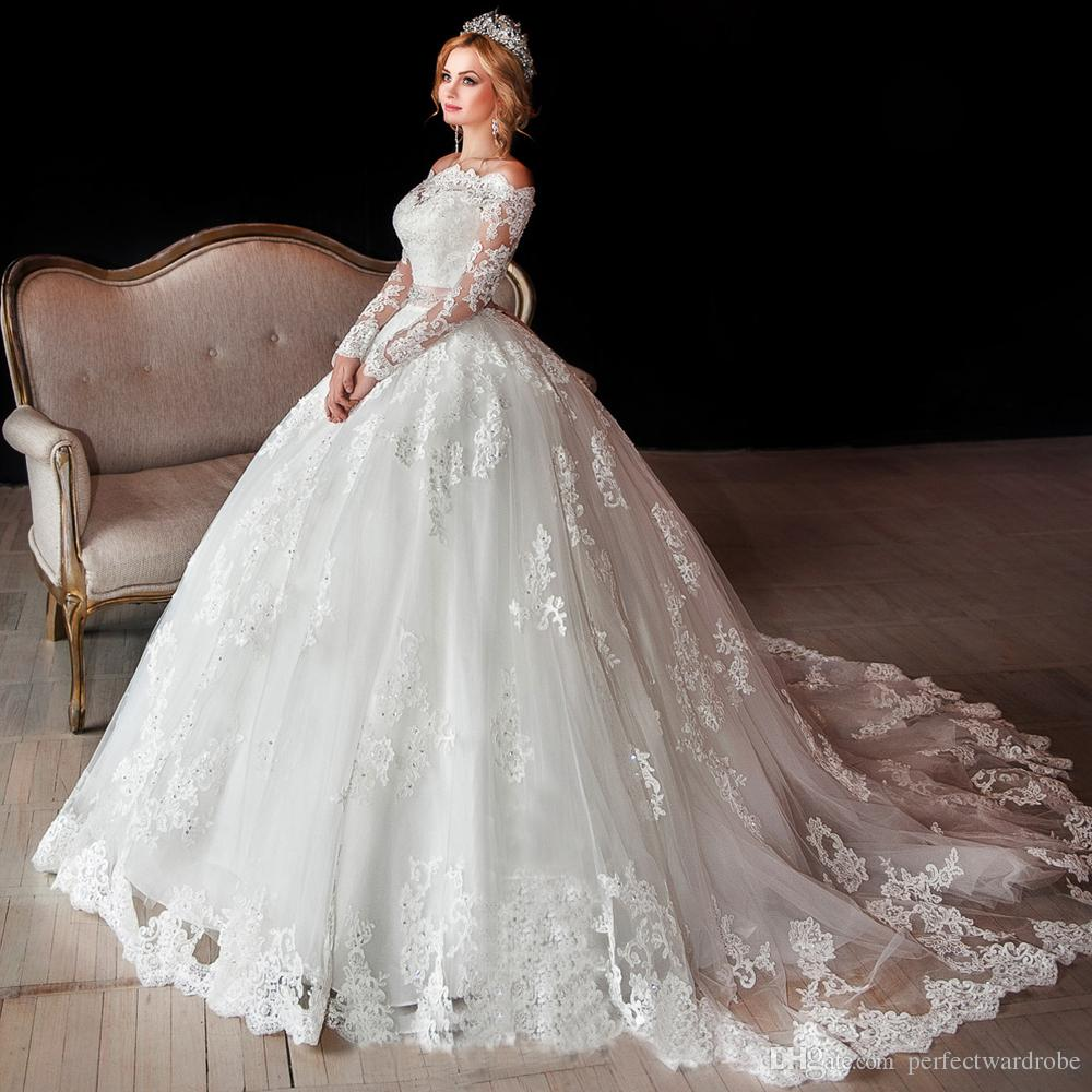 Luxury long sleeve lace wedding dresses off shoulder for Long sleeve ball gown wedding dress