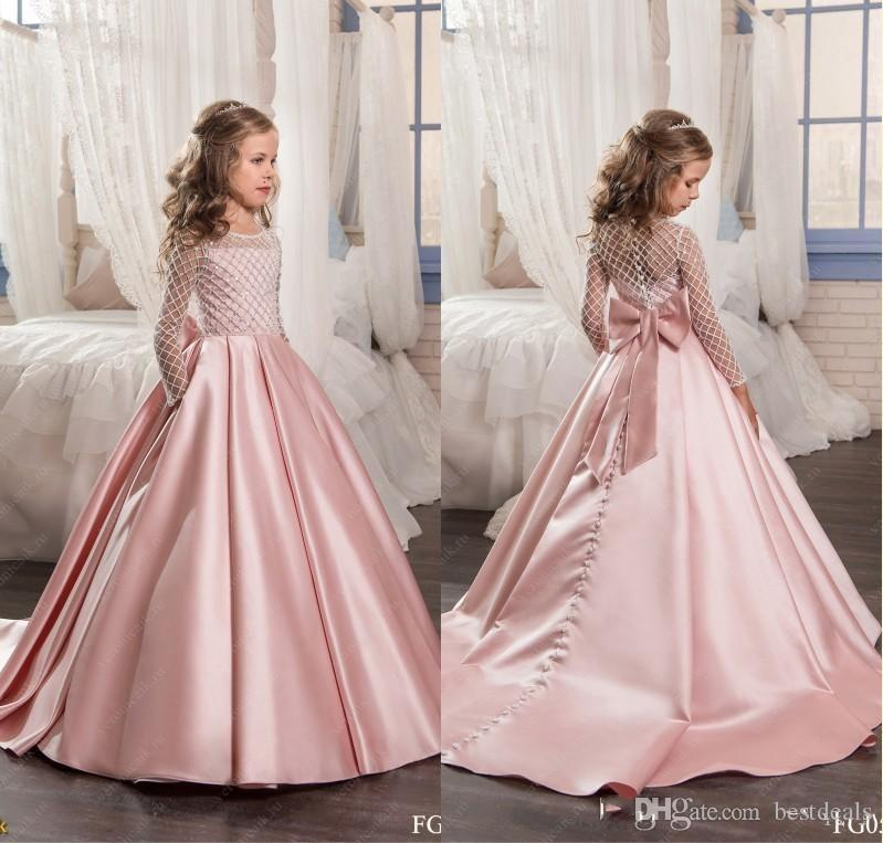2017 Blush Pink Flower Girl Dresses Satin Kids Evening Gowns with ...