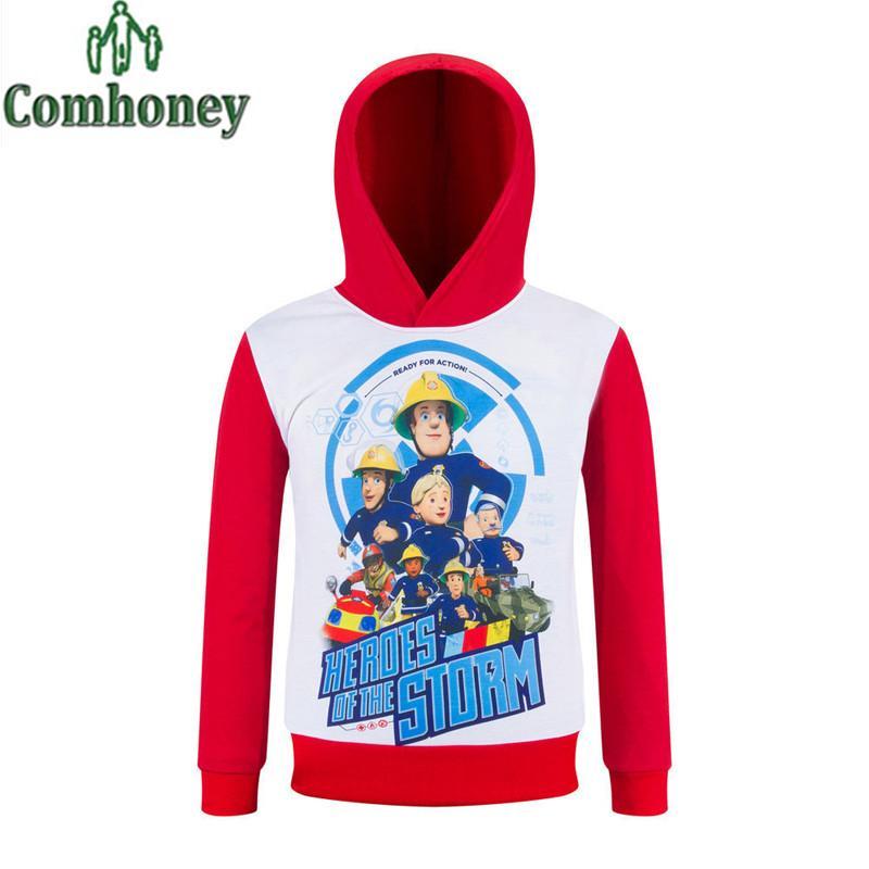 wholesale boys hoodies fireman sam for girls shirt cartoon children sweatshirt kid hoodie baby boy long sleeve sweatshirt sweatshirt ymcmb hoodie white