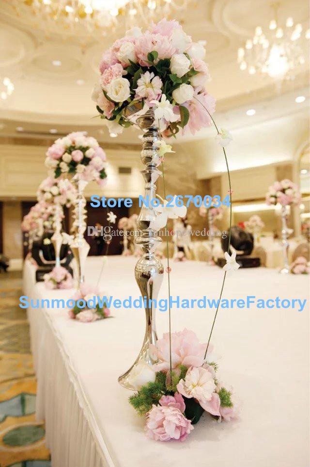 Hot metal tall wedding flower vase stand elegant