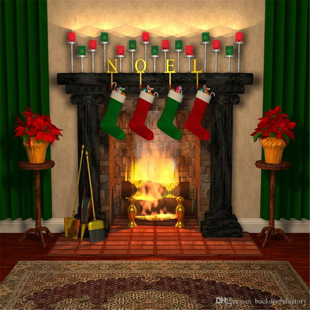 indoor vinyl christmas fireplace backdrop fond photographie noel