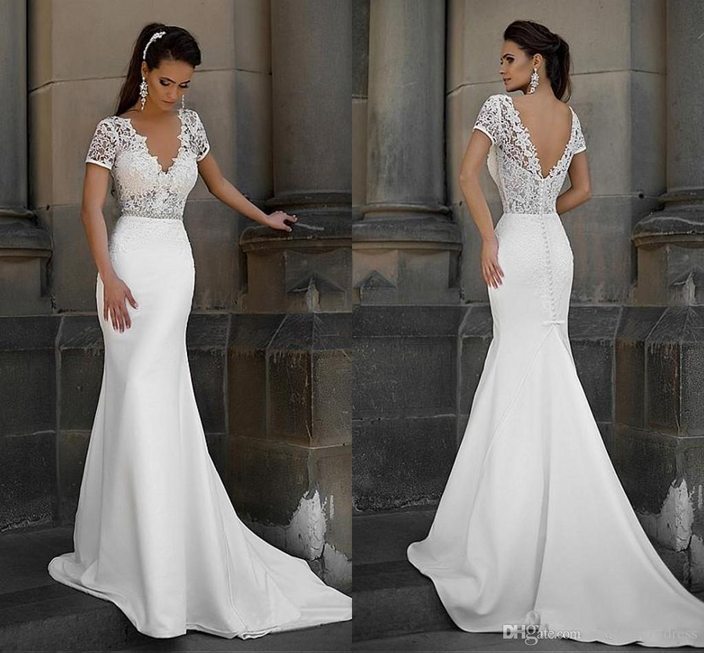 2016 Short Sleeve Lace Mermaid Wedding Dress V Neck Beaded