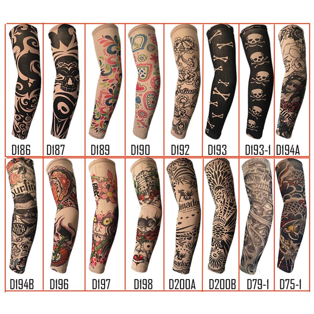 Randomly trendy unisex outdoor sport anti uv fake tattoo for Fake tattoos sleeves