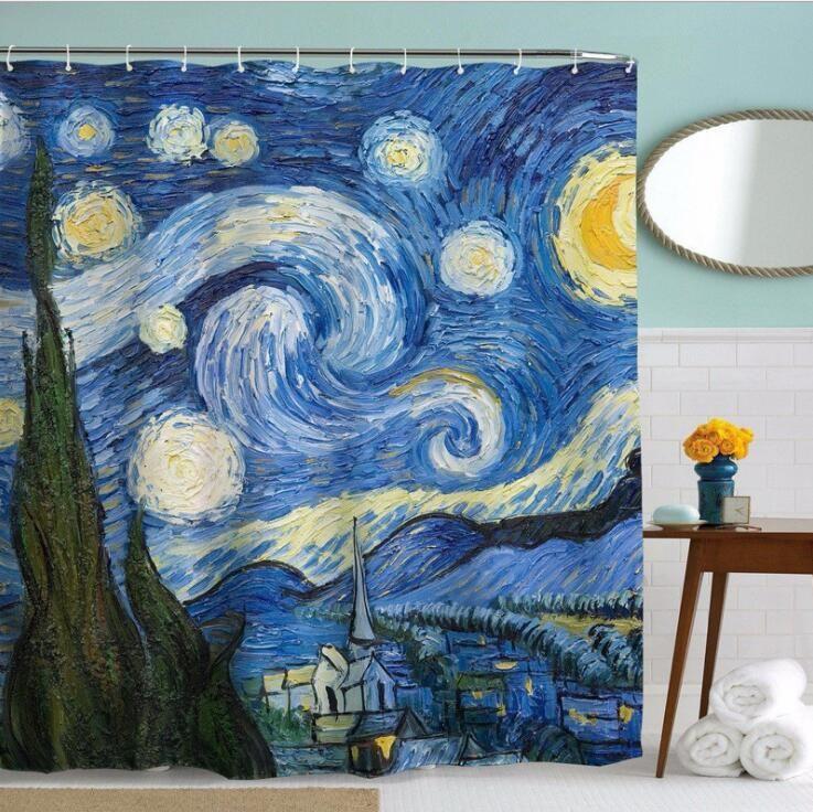 Polyester Shower Curtains Van Gogh Famous Starry Night Painting Bathroom  Décor Bathroom Shower Curtain Bathroom Bath Curtain KKA2105 Shower Curtain  Bath ...