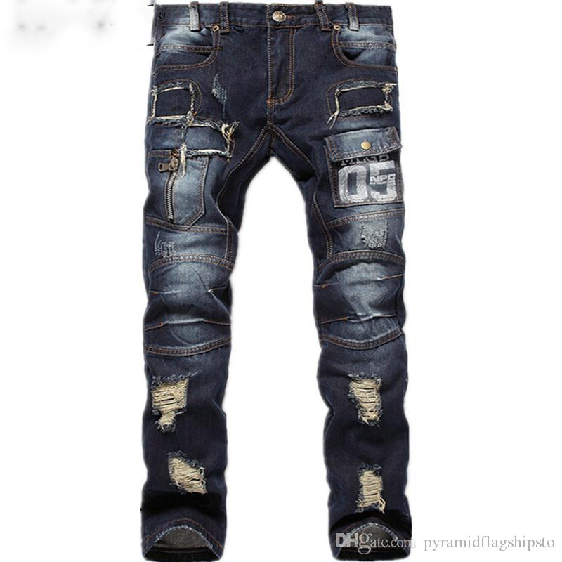Hot Sell Mens Ripped Jeans 100% Cotton Brand Designer Denim ...