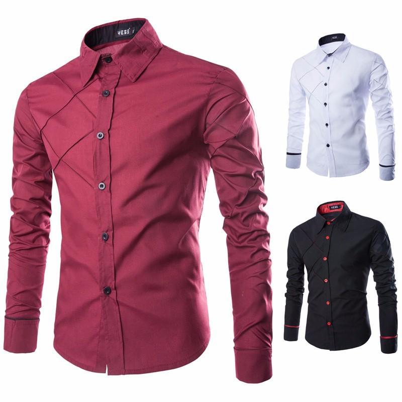 2017 wholesale hot 2016 new mens slim fit unique men for Cheap slim fit shirts