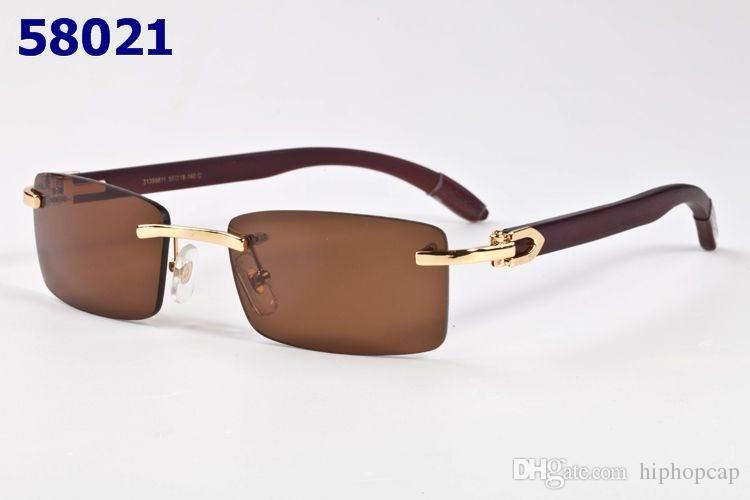 Luxury Fashion Rectangle Rimless Plain Mirror Glasses Men ...