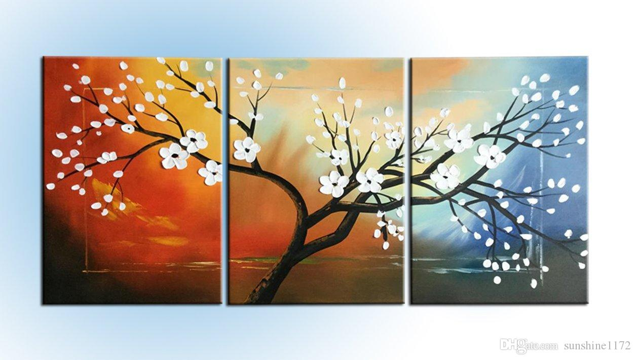 2018 hand made modern abstract oil paintings white flowers for 3 panel painting