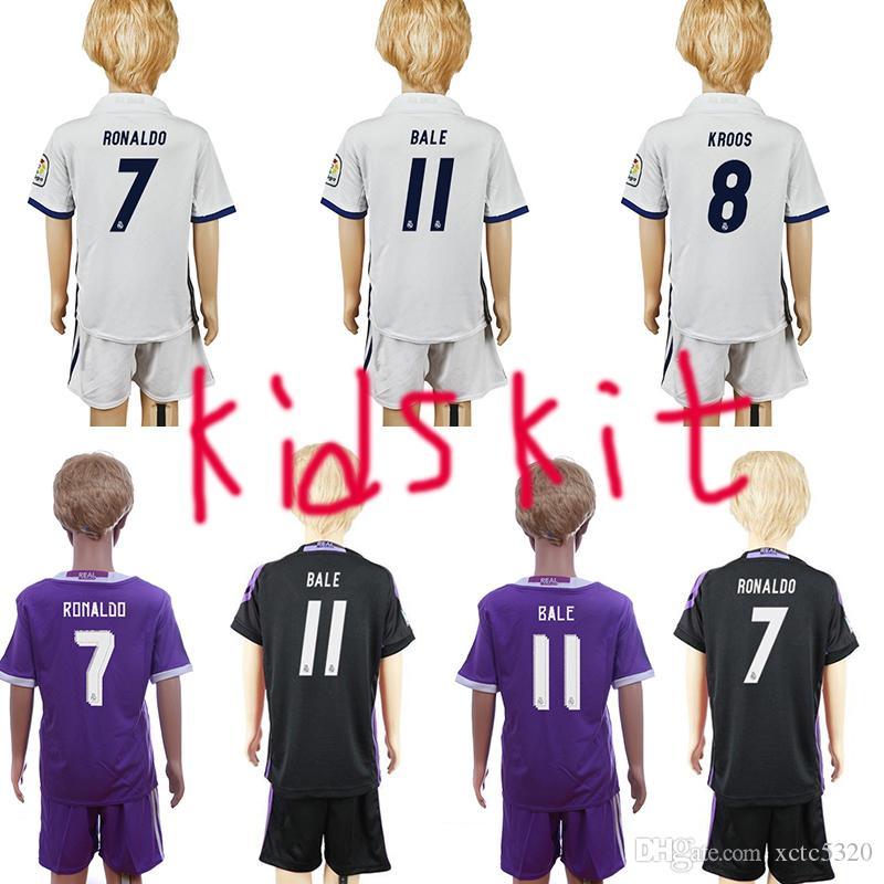 2017 Kids Kit Maillot de football Real Madrid 2016/17 Accueil Blanc Maillot de f