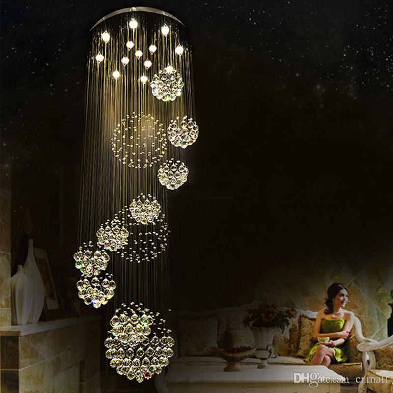 Modern Pendant Lamp Chandeliers Crystal Staircase Light