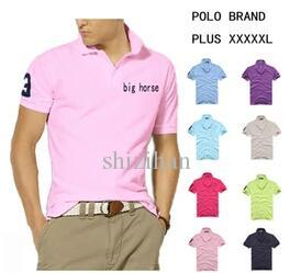 Grande taille S-6XL Polo Hommes Big Horse Camisa Robe courte à manches longues C
