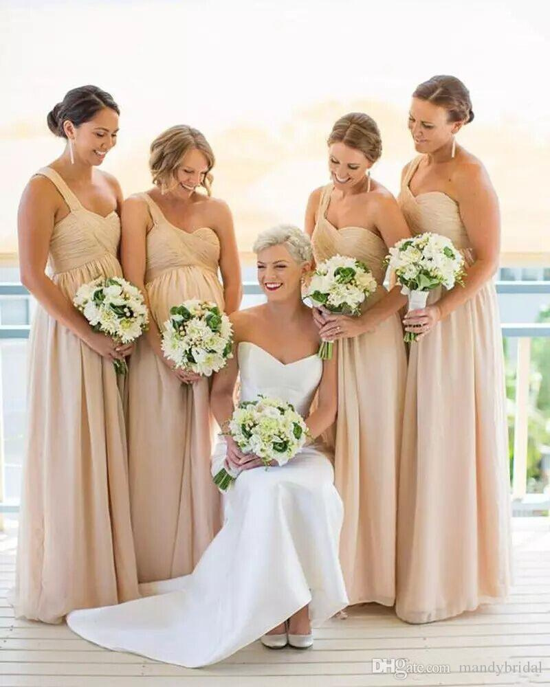 2018 new champagne bridesmaid dresses one shoulder chiffon country 2018 new champagne bridesmaid dresses one shoulder chiffon country maid of honor dresses pleated cheap maternity dresses long floor length bling ombrellifo Images