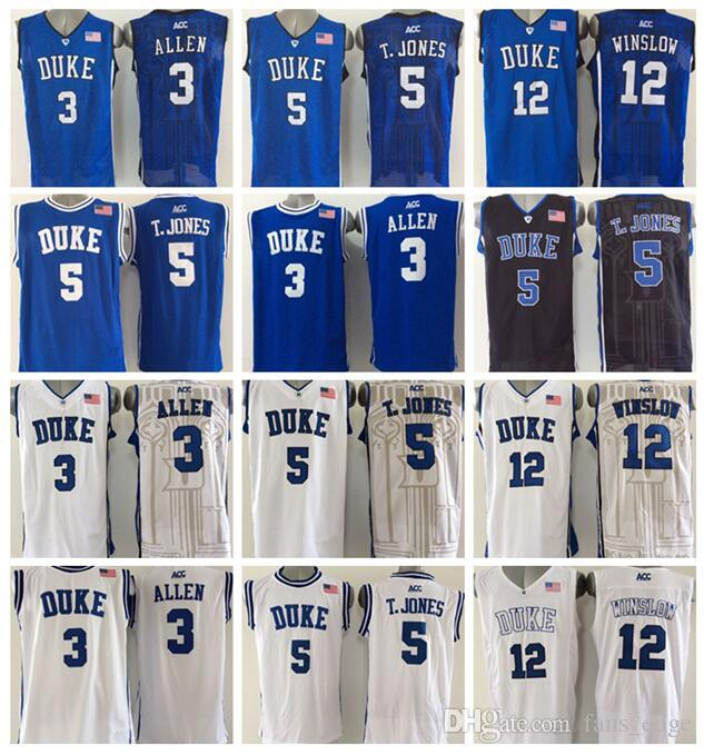High Quality Jersey 3 Grayson Allen Bleu 5 Tyus Jones Noir 12 Justise Winslow Bl