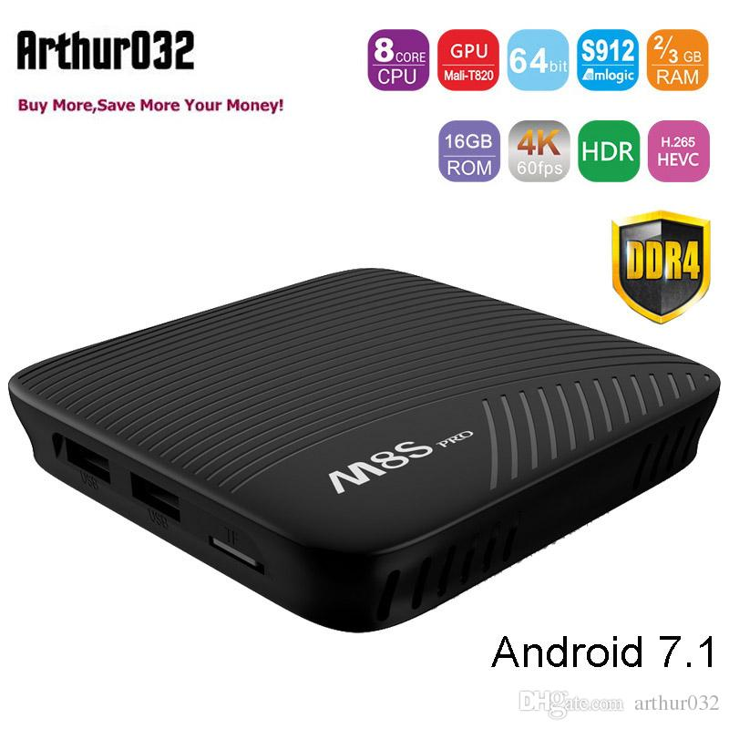 MECOOL M8S PRO Android 7.1 DDR4 TV Box 3 Go 16 Go Amlogic S912 64 bits Octa Core