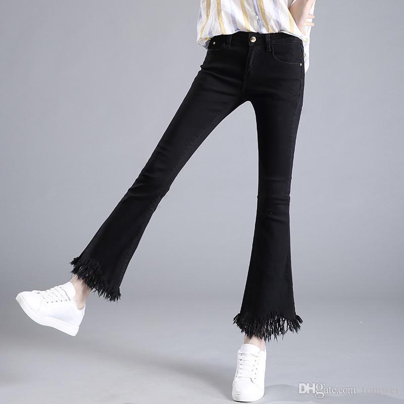 2017 High Waist Trousers Flare Jeans Tassel Pants Womens Skinny ...
