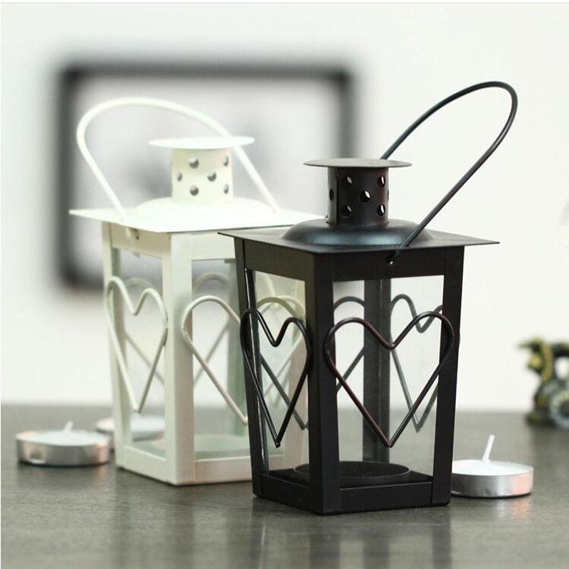 Black white metal candle holders iron lantern wedding for Articulos de decoracion hogar