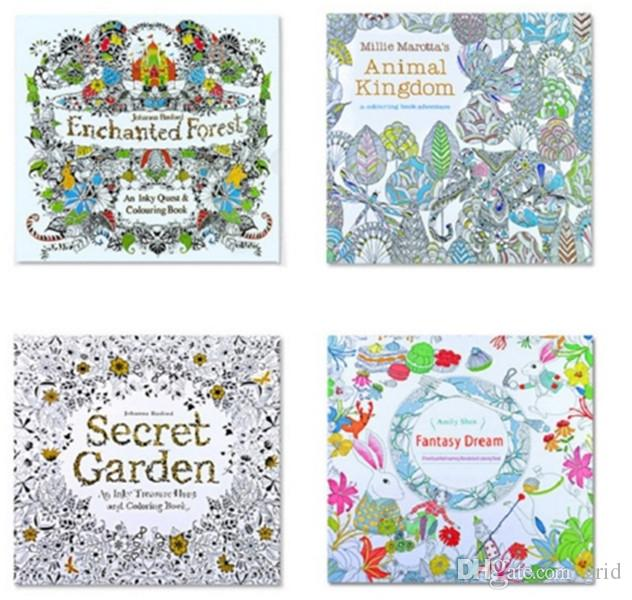 2017 PrettyBaby Secret Garden Coloring Book Painting Drawing 24 Pages Animal Kingdom Enchanted Forest Relieve Stress For Children Adult
