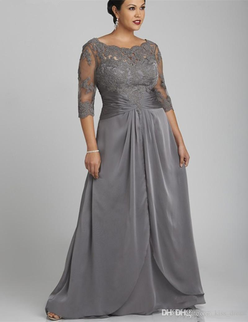 plus size gray long mother of the bride dresses hot