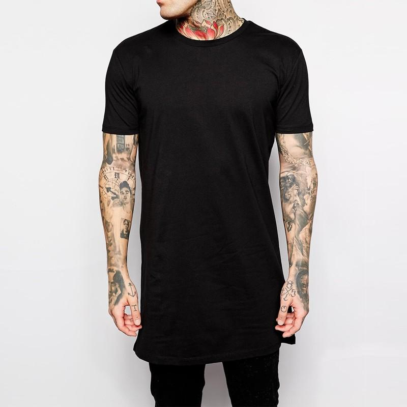 Wholesale 2017 brand new clothing mens black long t shirt for Mens black shirts online