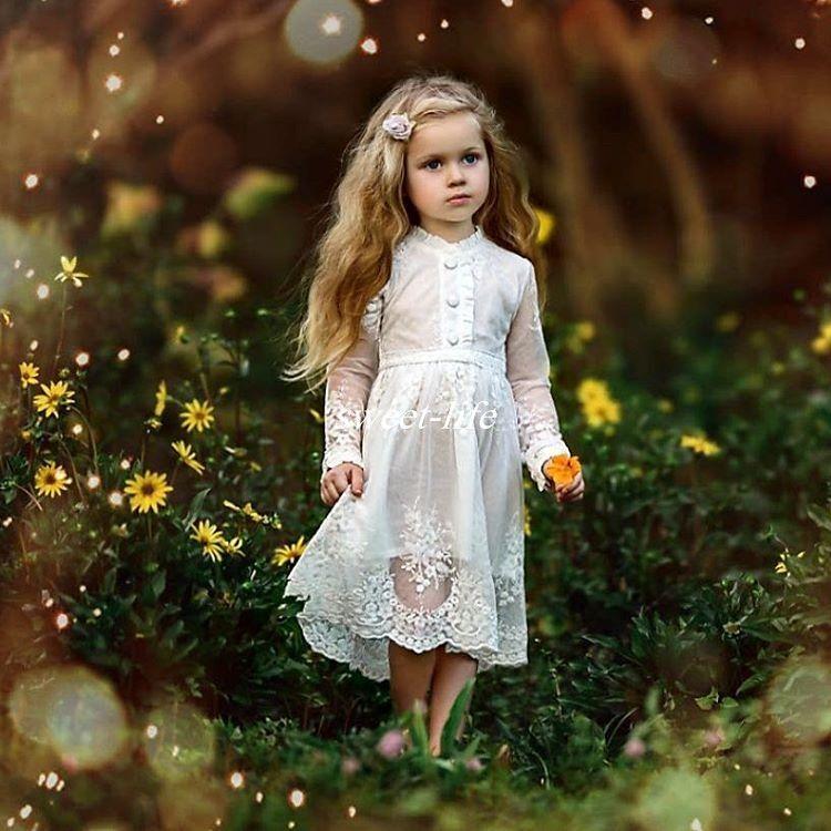 cute country beach wedding flower girl dresses applique vintage lace buttons 2017 tea length. Black Bedroom Furniture Sets. Home Design Ideas