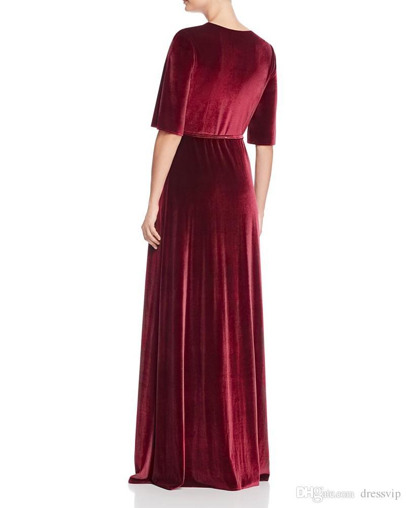 2 piece long evening dresses velvet