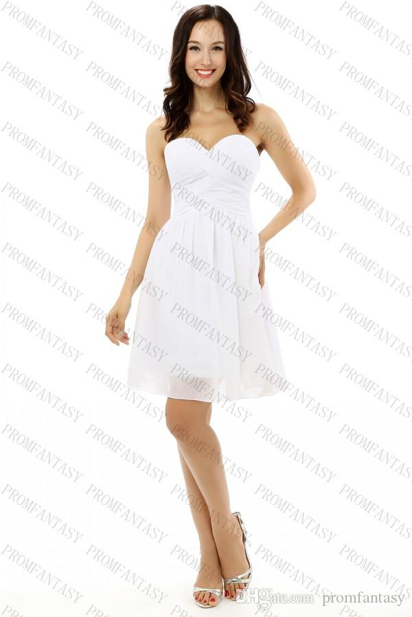 Little white chiffon bridesmaid dresses sweetheart simple for Short white wedding dresses under 100