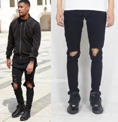 Wholesale-fashion Distressed Ripped Skinny Jeans Men Streetwear ...