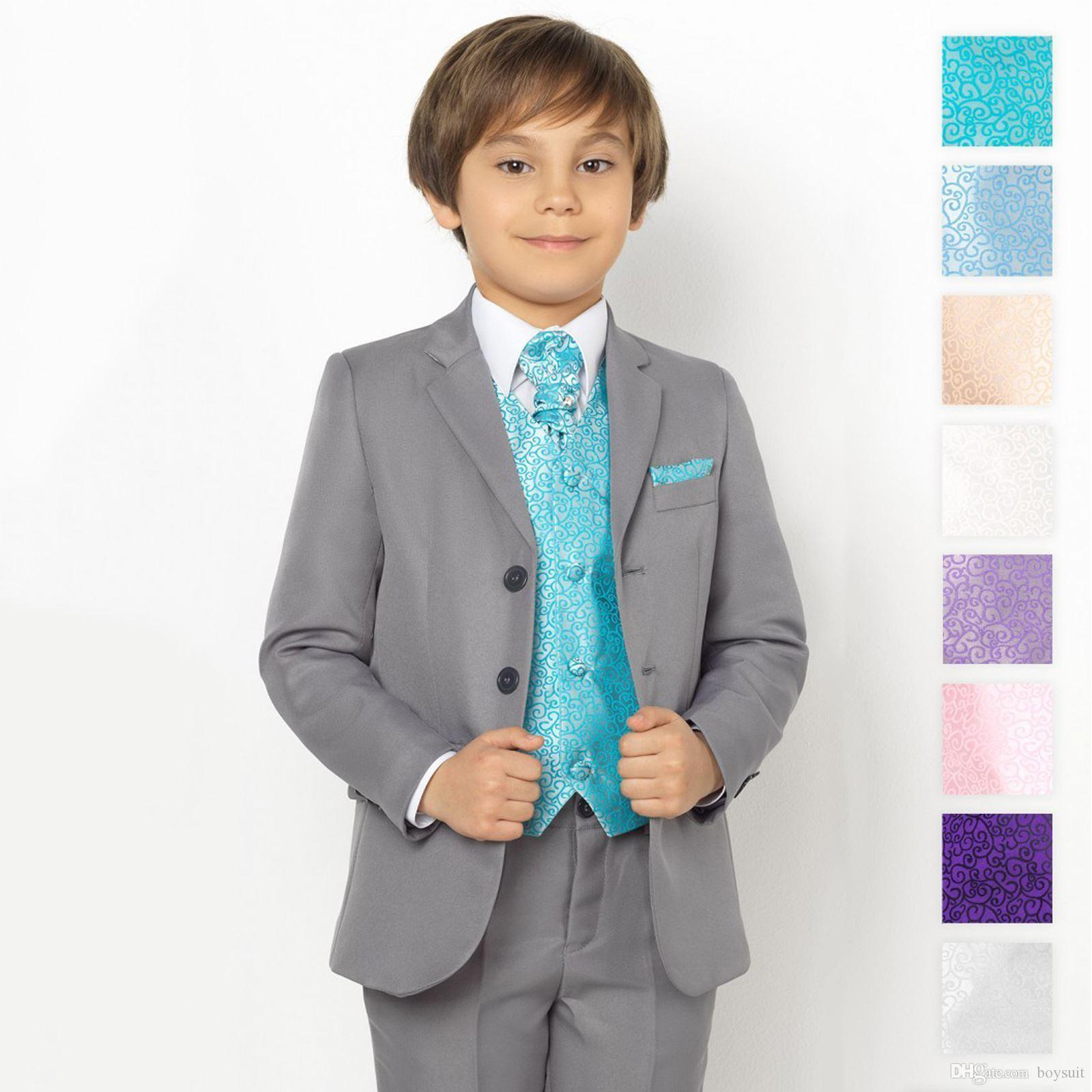 Boys Grey Suit, Page Boy Suits, Boys Prom Suits, Swirl Waistcoat ...