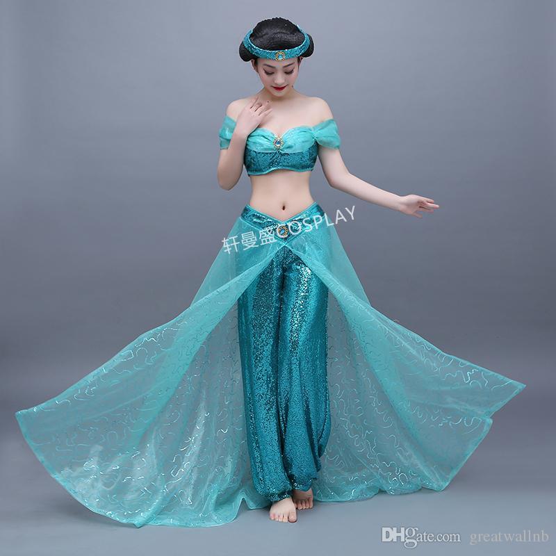 womens adults ladies jasmine costume halloween character cosplay princess light blue princess jasmine cosplay aladdin cosplay medieval dress online with - Halloween Jasmine