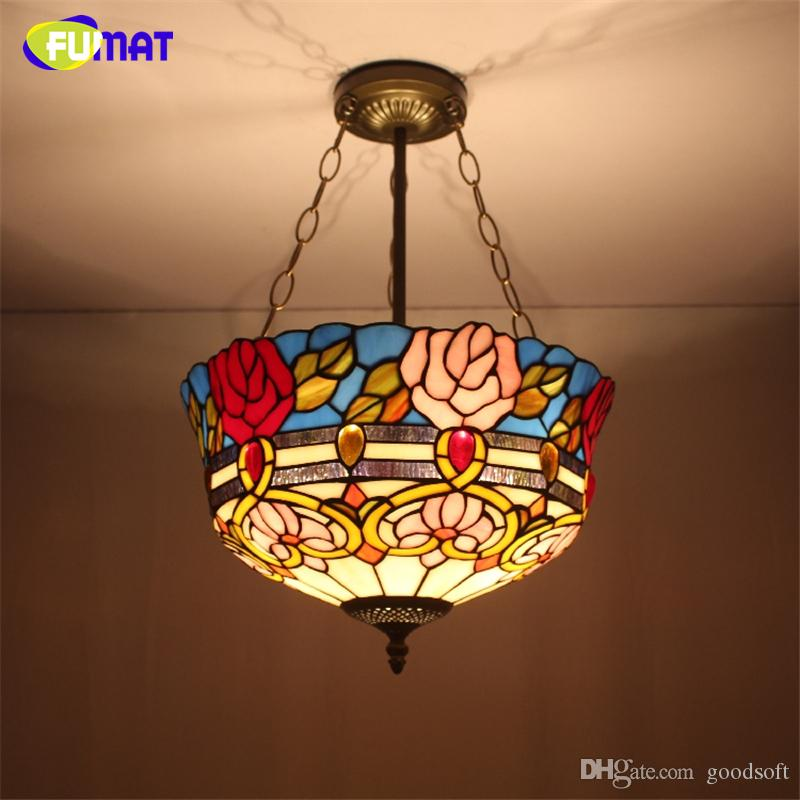 Fumat stained glass pendant light antique rose glass shade for Suspension baroque