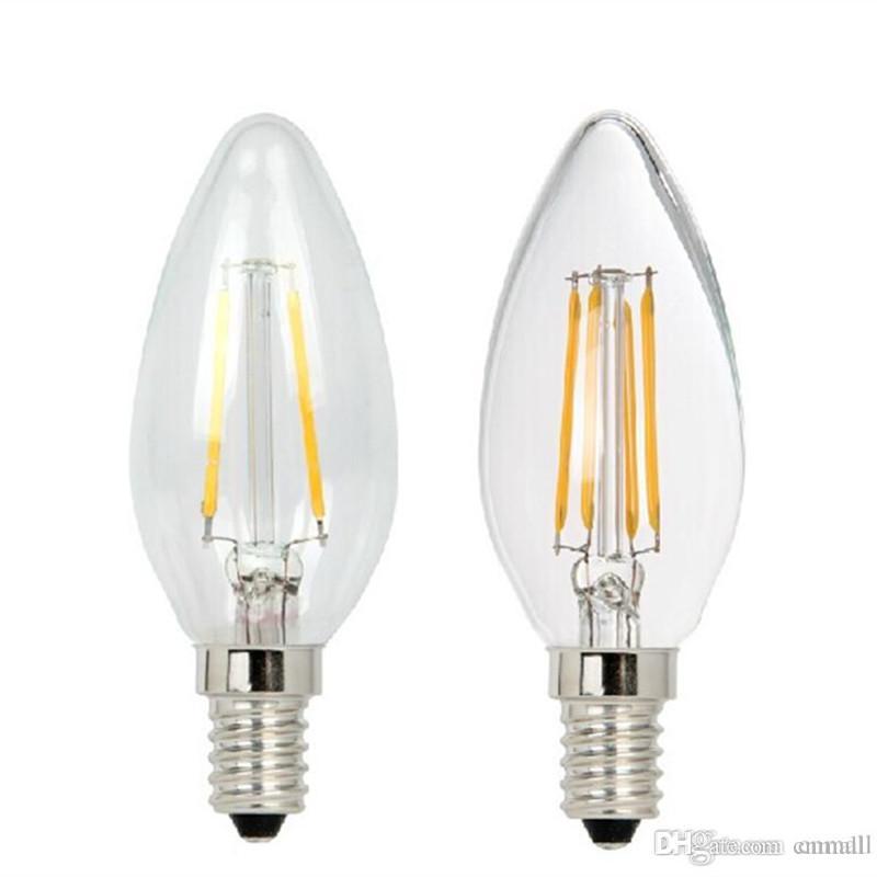 led candle lamp c35 cob filament bulb chandelier 2w 4w e14 base 110v 220v ac 110 lm w led lights. Black Bedroom Furniture Sets. Home Design Ideas