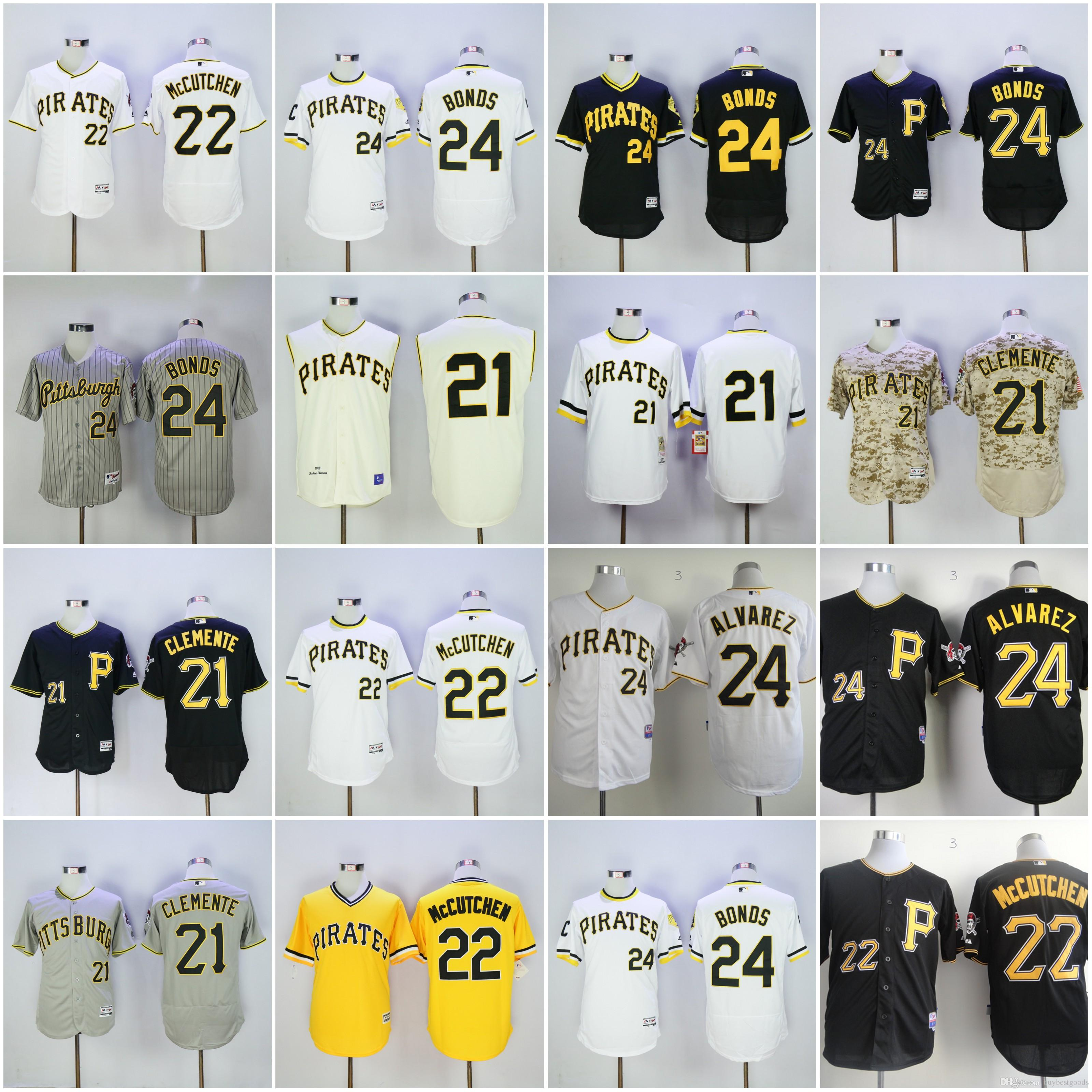 21 Roberto Clemente Jersey Hommes Pittsburgh Pirates 24 Barry Bonds 22 Andrew Mc