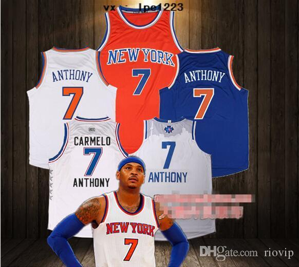 2017 new mens 7 Carmelo Anthony 6 Maillots Kristaps Porzingis 25 Derrick Rose ch