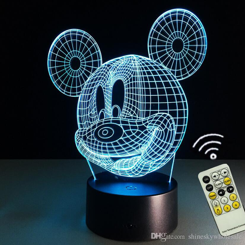 Décoration de chambre mignonne 3D Mickey Mouse Shape Night light LED 7 couleurs