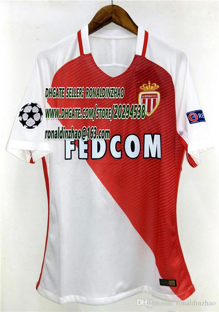 Meilleur joueur version 1617 monaco home champion league jersey slim fit, top uc
