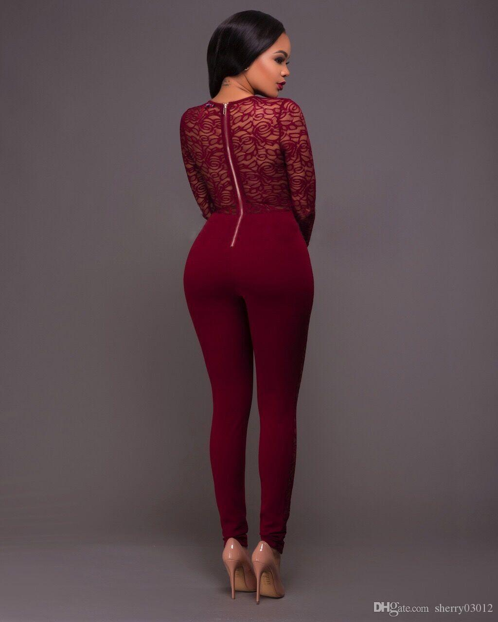 2017 Sexy Women Lace Spelling Tight Jumpsuits Fashion Slim ...