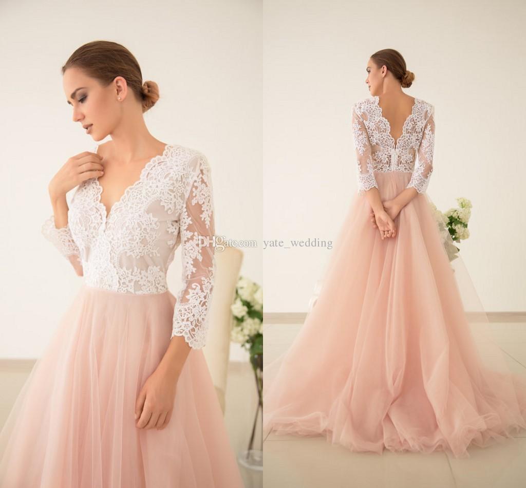Blush pink patchwork wedding dresses v neck 3 4 illusion for Long sleeve blush wedding dress