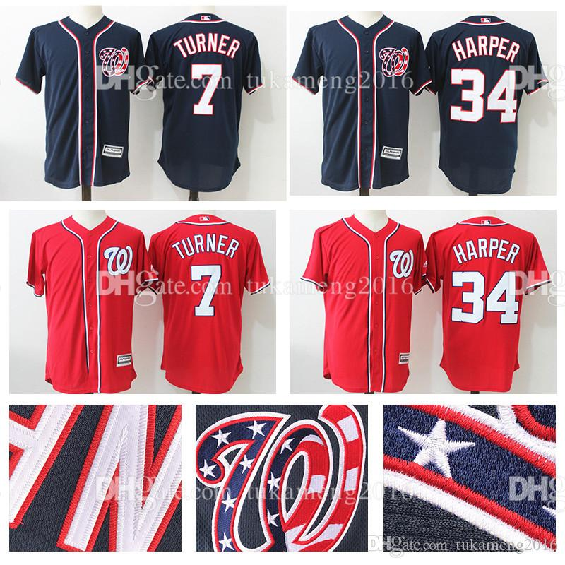 Washington Nationals 34 Bryce Harper 7 Trea Turner Maillots de Baseball MLB Embr