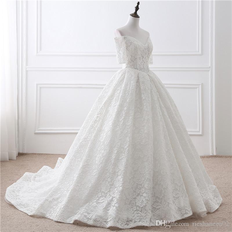 2017 hot sale simple white wedding dress real photos ball for Simple off white wedding dresses