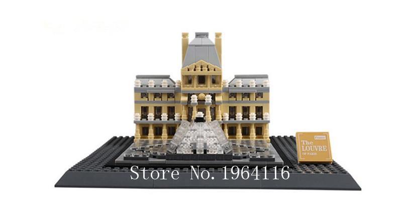 2016 New Architecture Creator Series The Louvre Paris 3d Model Building Blocks Set Classic Compatible Legoed House Toys Kids Building Set Foam Building
