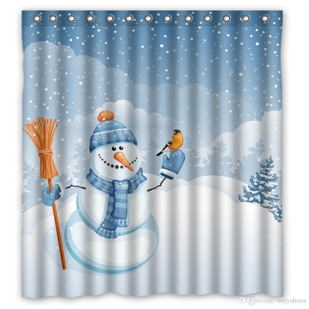 2017 customs 36 48 60 66 72 80 w x 72 h inch shower curtain cute snowman falling snow polyester. Black Bedroom Furniture Sets. Home Design Ideas
