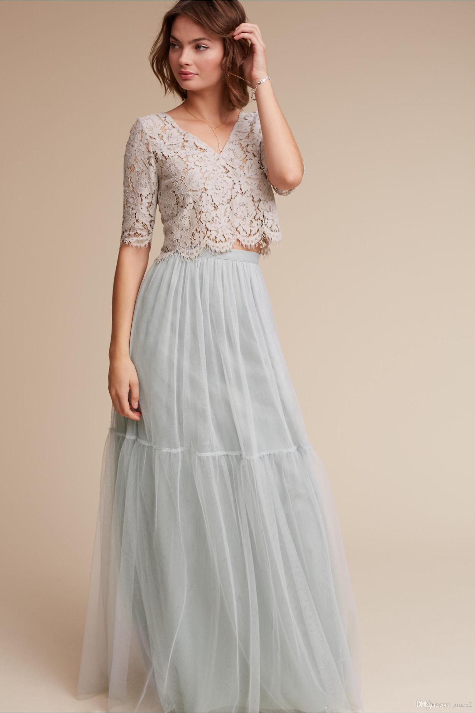 Two pieces bridesmaid dresses 2017 bhldn under 100 with for Cheap 2 piece wedding dresses