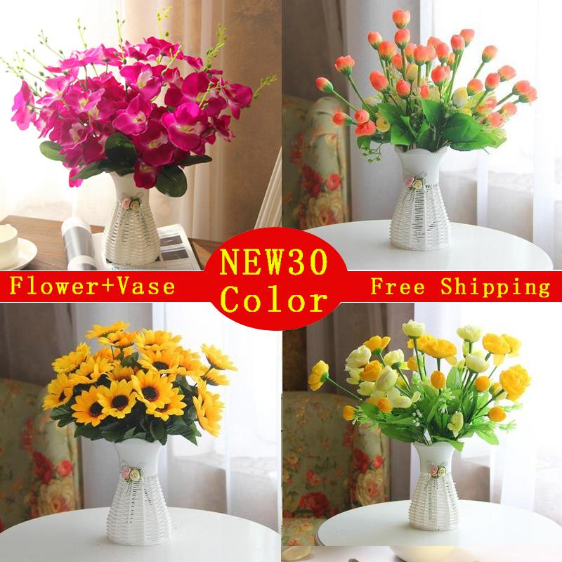 Quality Plastic Vase Silk Flowers Artificial Flower Set Home Flowers Decoration Artificial Wedding Decor Free