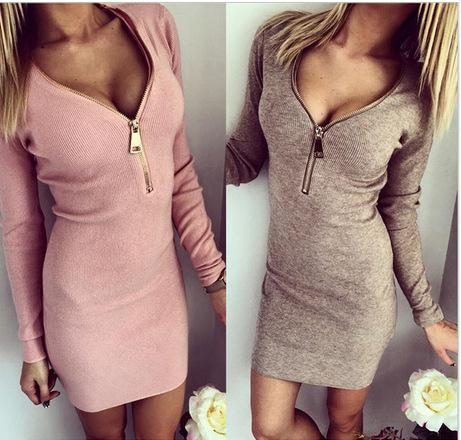 Sexy Femmes Dames Zip V Neck manches longues hiver Bodycon Mini Dress cravate Ro