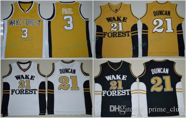 Débardeurs de Wake Forest Demon Tim Duncan Collège Chandails 3 Chris Paul 21 Tim