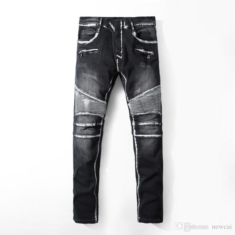 Famous Brand Pierre Rock Biker Jeans Men Ripped Denim Tearing ...