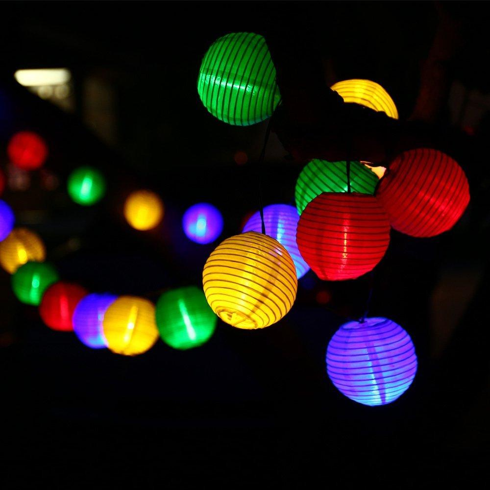 Bulk Order String Lights : Wholesale-Lantern Solar String Lights Outdoor Globe Lights 30LED Warm White/Multi Color Fabric ...