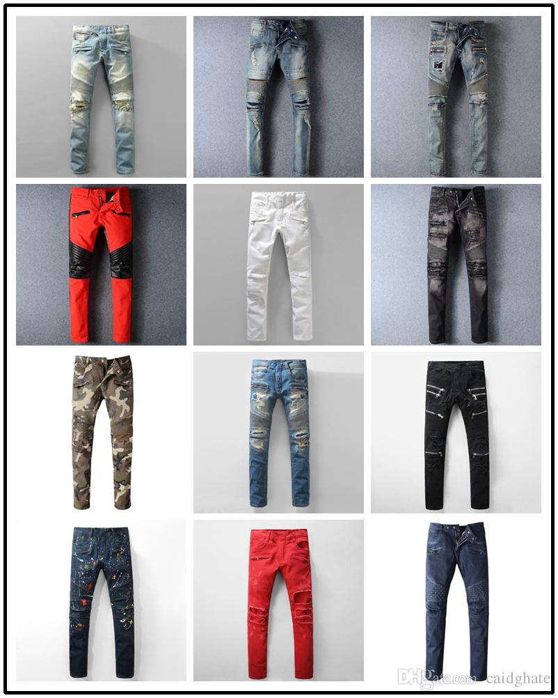 Designer Hole Men Biker Jeans Classic Straight Jeans Wash Cowboy Slim Denim Trousers Skinny Pants Casual Mens Ripped Jean Motorcycle Jeans